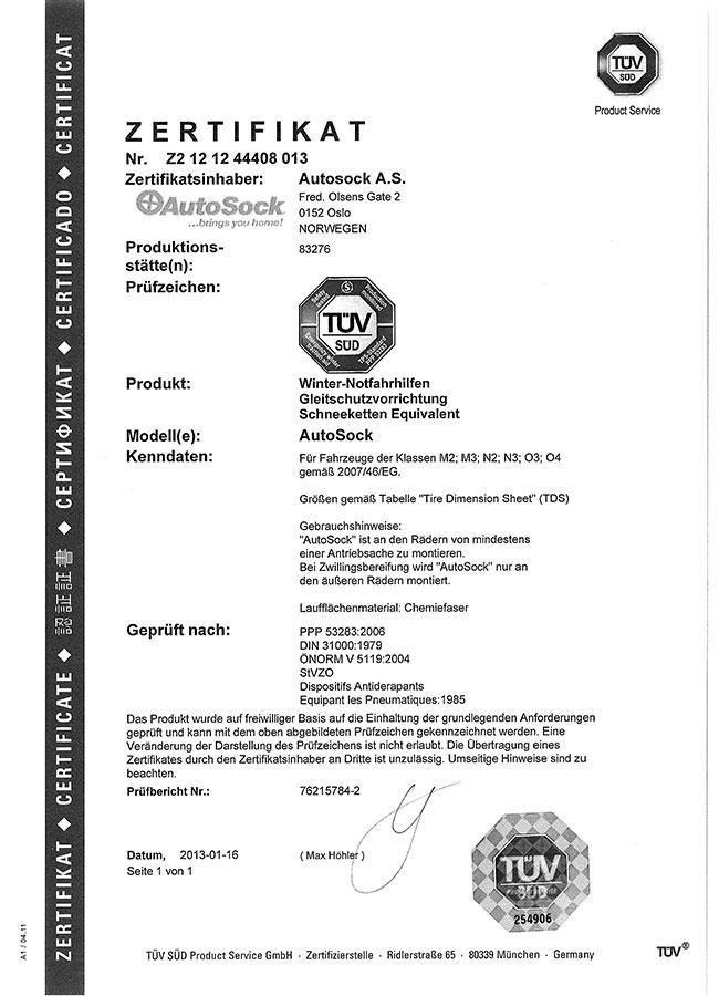 Certifikát TÜV AutoSock – nákladní vozy