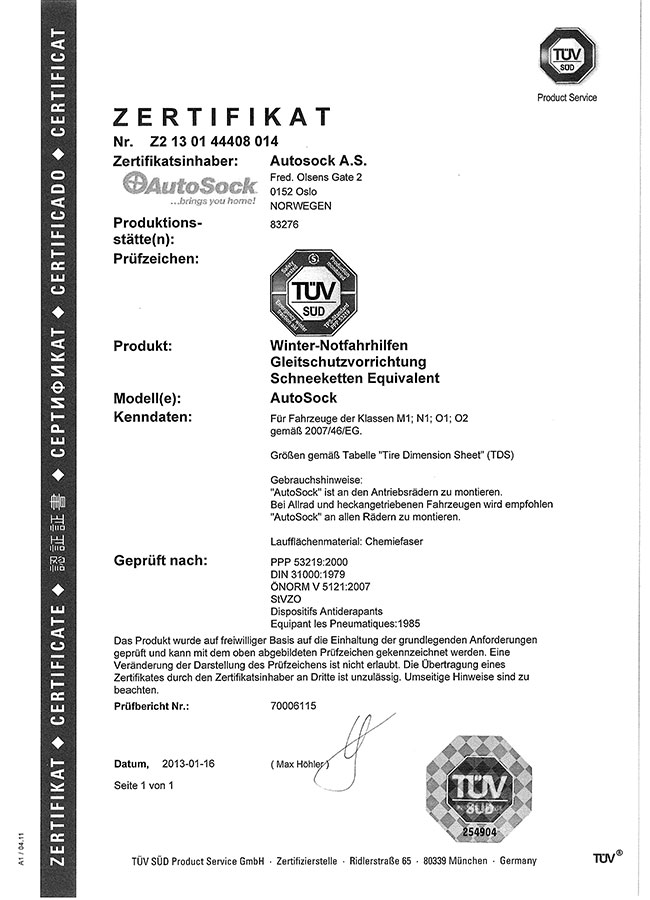 Certifikát TÜV AutoSock – osobní vozy