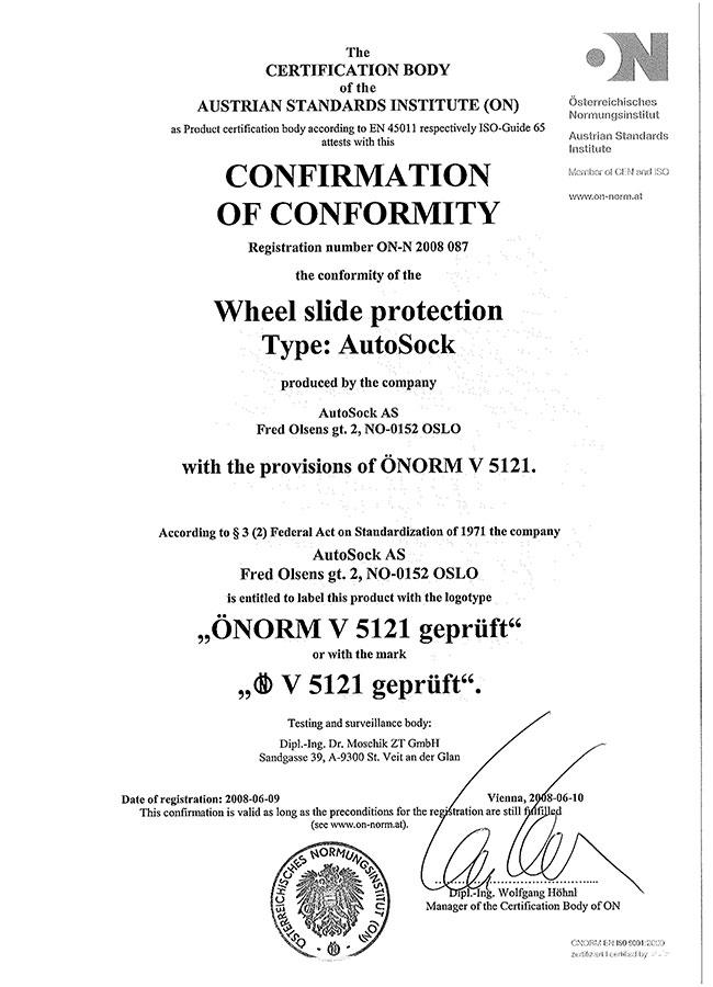 Certifikát ÖNORM AutoSock – osobní vozy